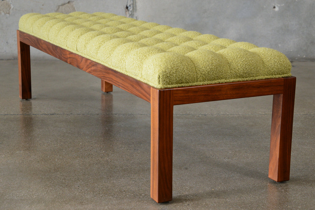Long Button Tufted Walnut Bench