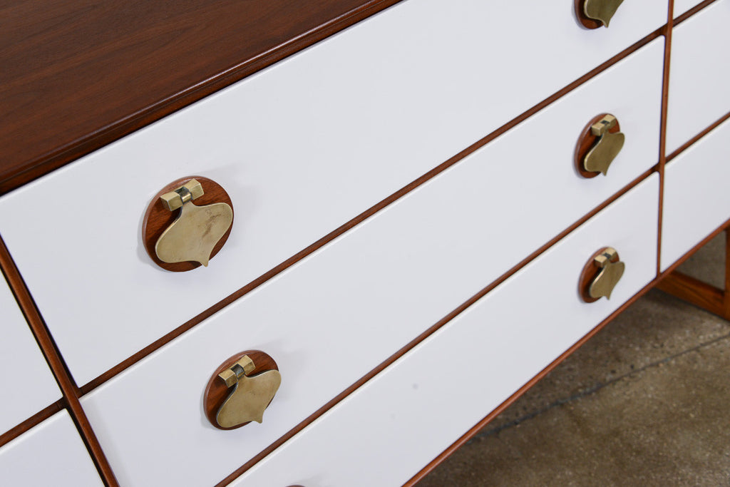 Spade Handle Walnut Nine Drawer Dresser by Stanley