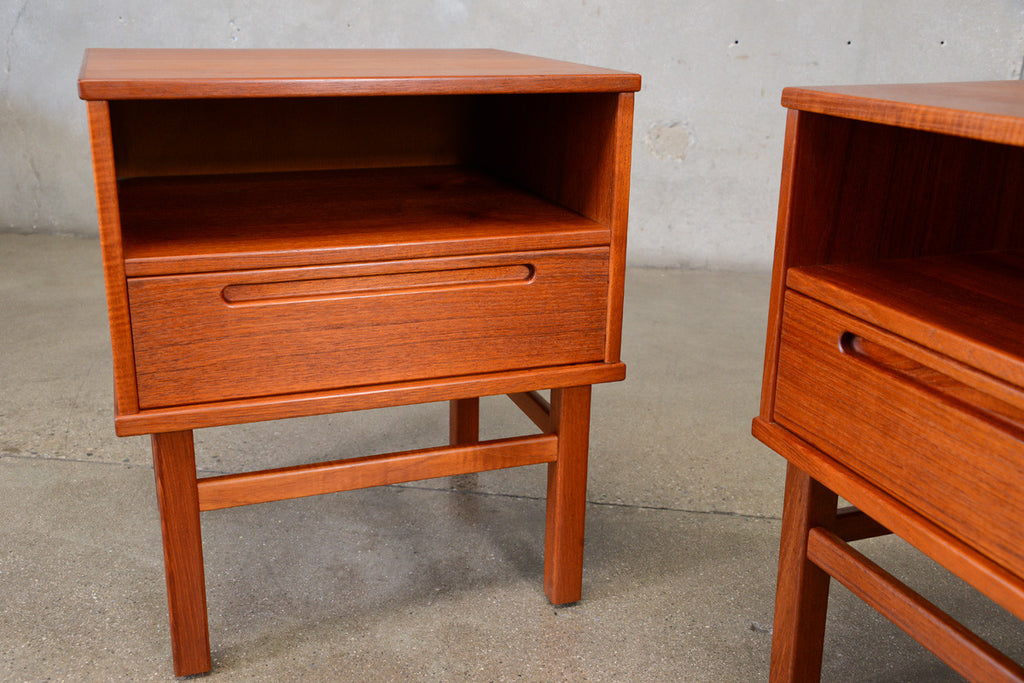 Pair of Teak Nightstands by Nils Jonsson for HJN Mobler
