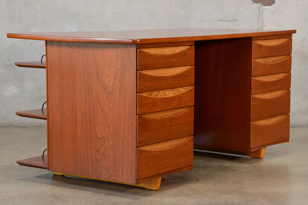 Unique Vintage Teak Executive Desk