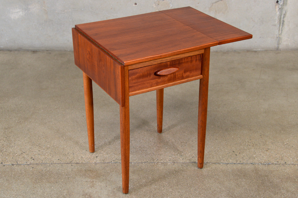 Danish Teak And Oak Drop Leaf Side Table Arroyo Artifacts