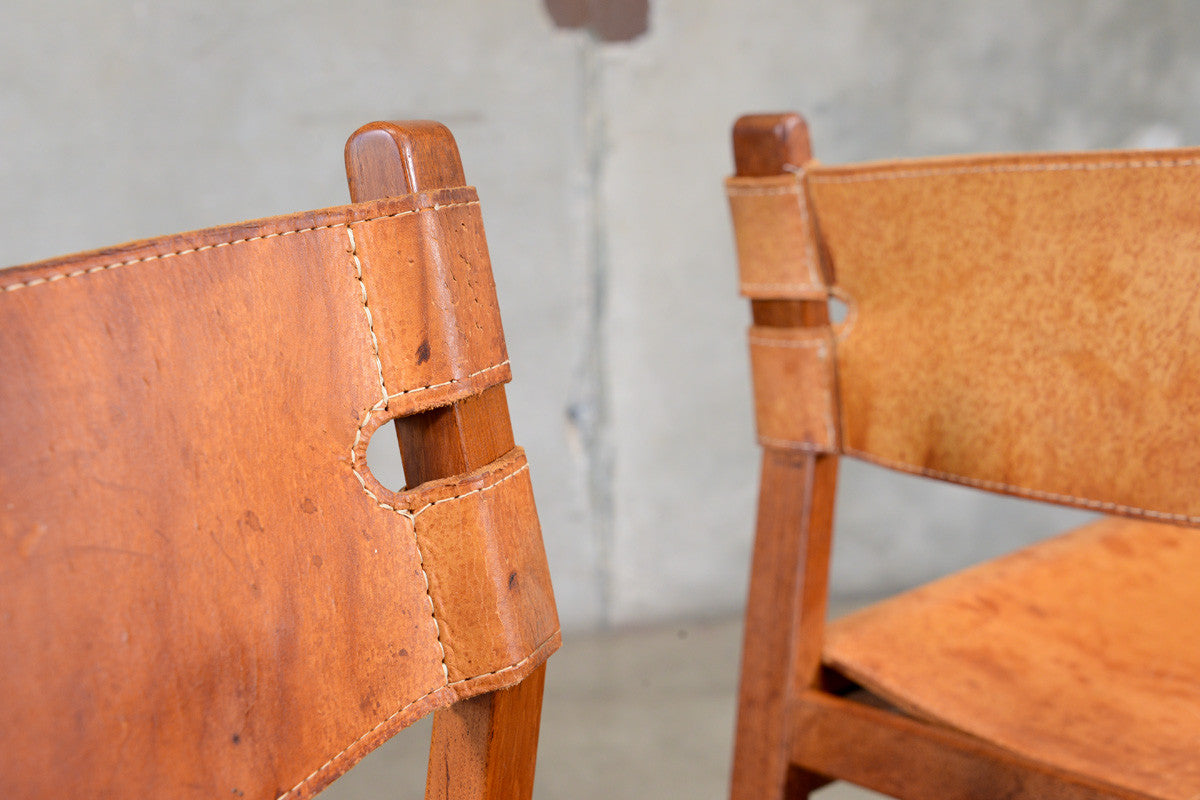 Set of Four Teak and Leather Sling Dining Chairs