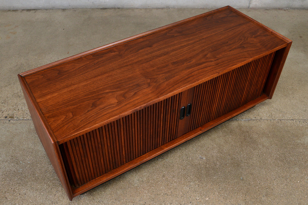 Small Walnut Tambour Door Credenza by Dillingham