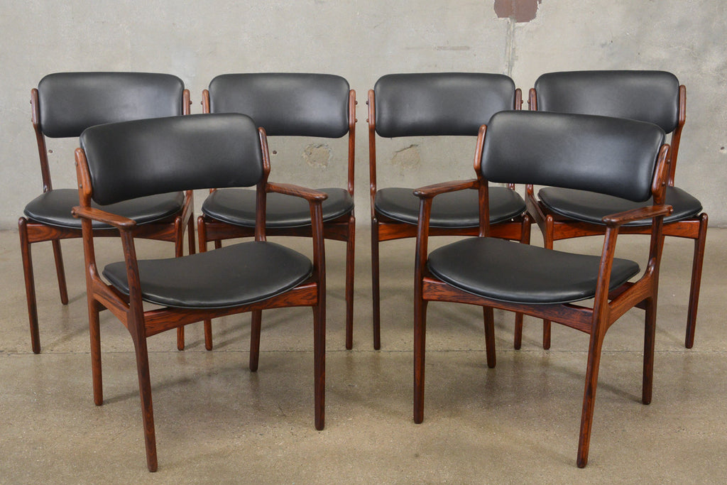 Set of Six Erik Buck Model 49 Rosewood Dining Chairs
