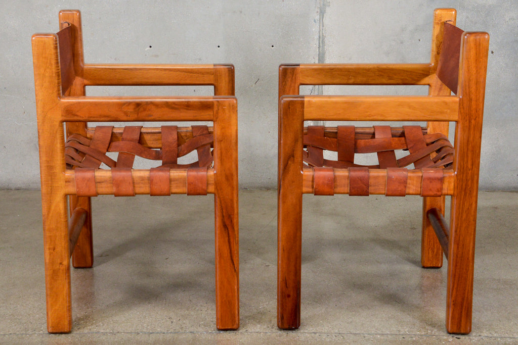 Pair of Walnut and Leather Strap Arm Chairs