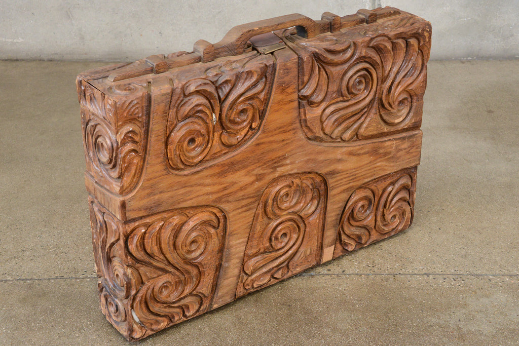 Carved Wood Briefcase/Suitcase by George Mullen