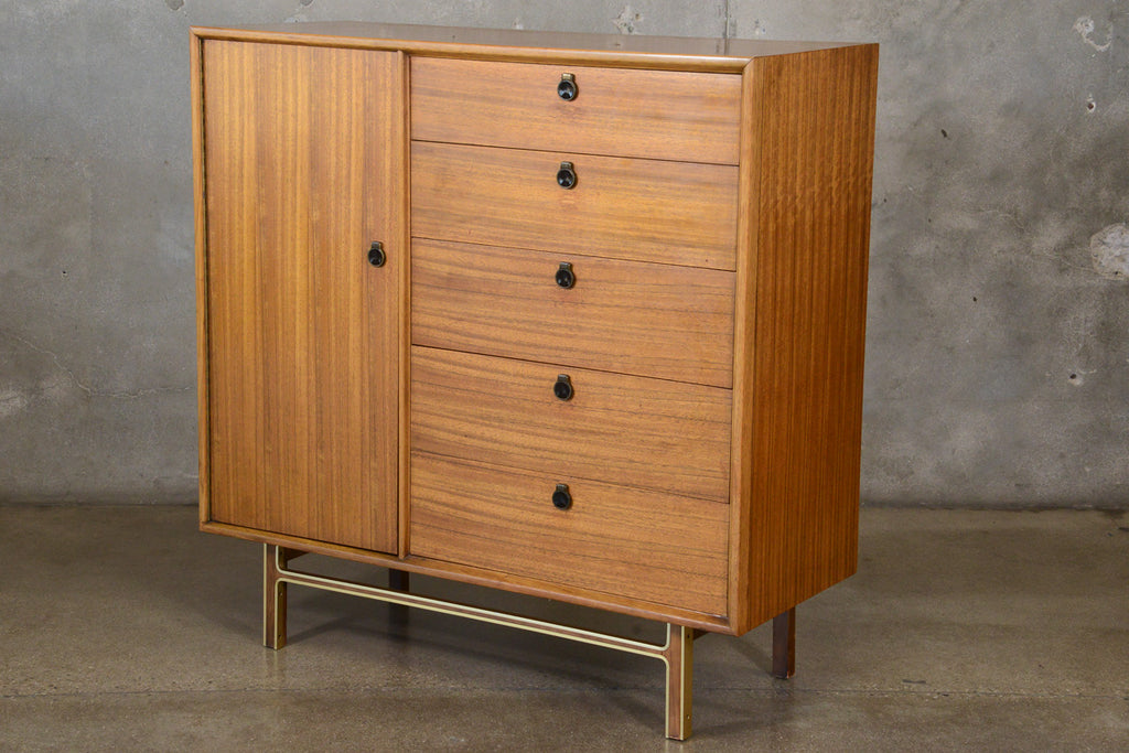Mahogany and Brass Ten Drawer High Boy Dresser