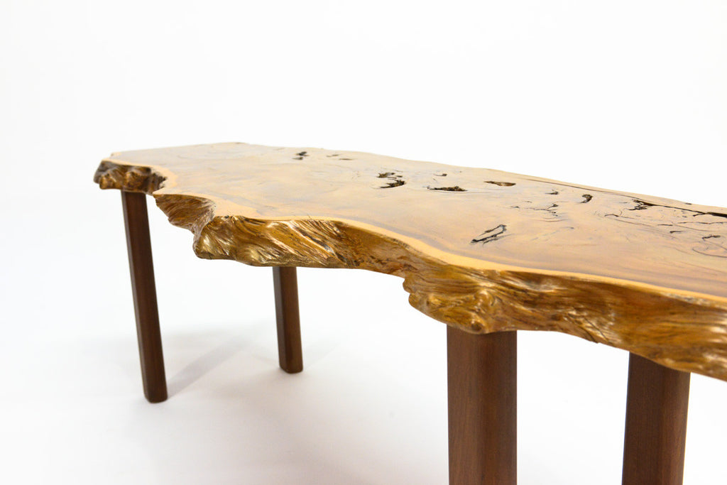 Yew Wood Slab Coffee Table by Reynolds of Ludlow