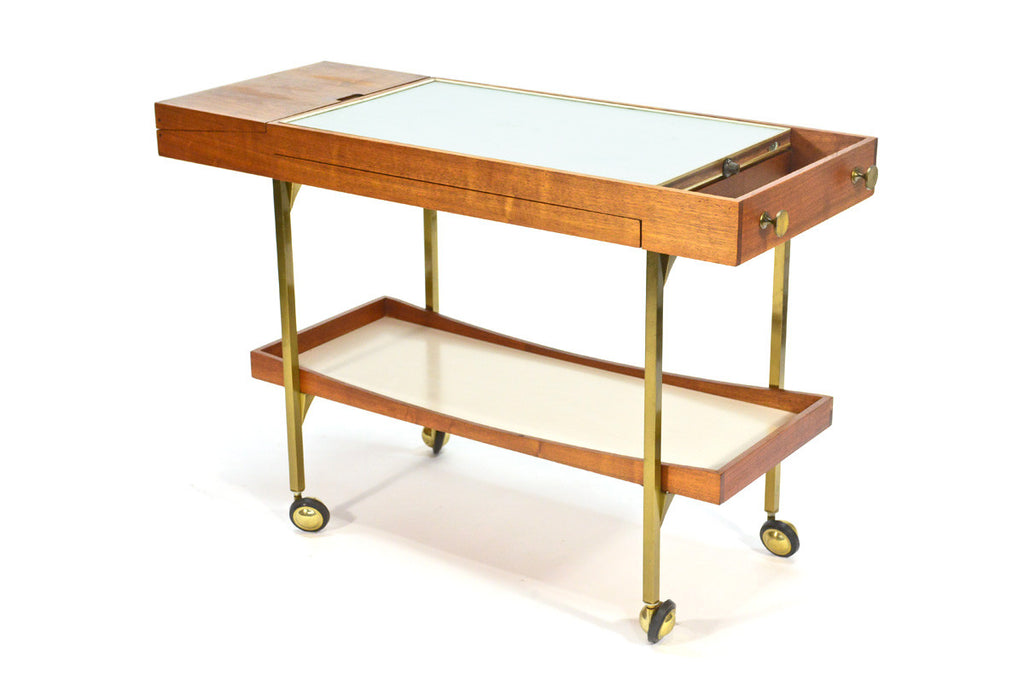 Large Walnut and Brass Serving Cart