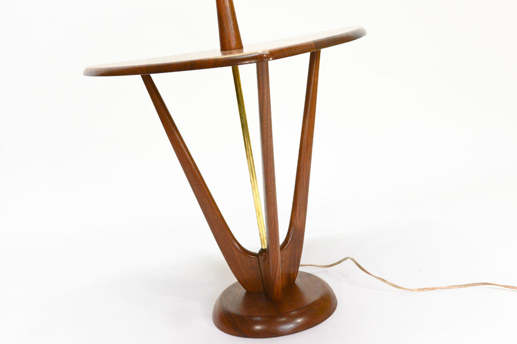 Sculptural Walnut Triangular Side Table + Lamp