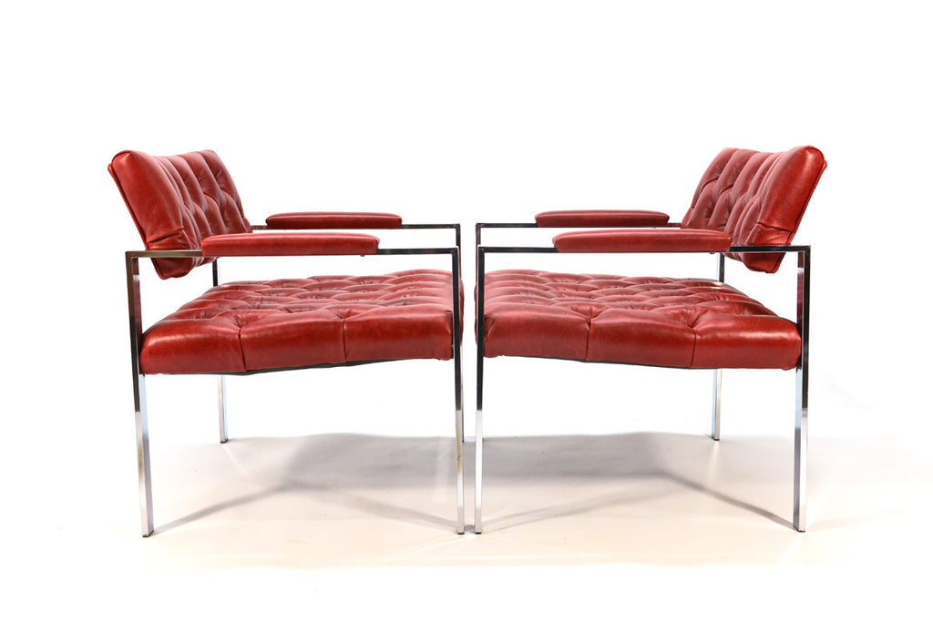 Pair of Harvey Probber Chrome and Leather Lounge Chairs