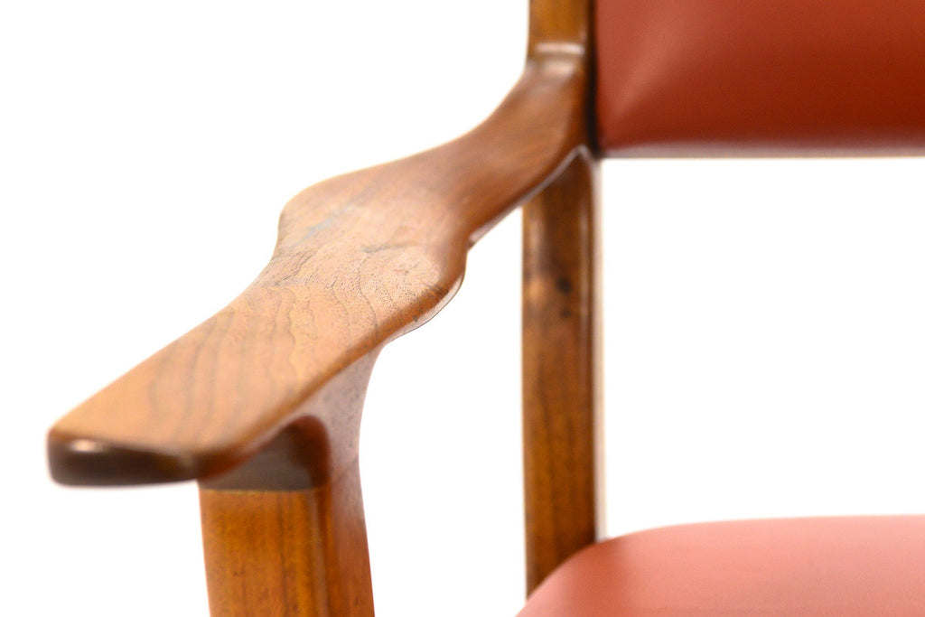 Studio Craft Walnut and Leather Arm Chair