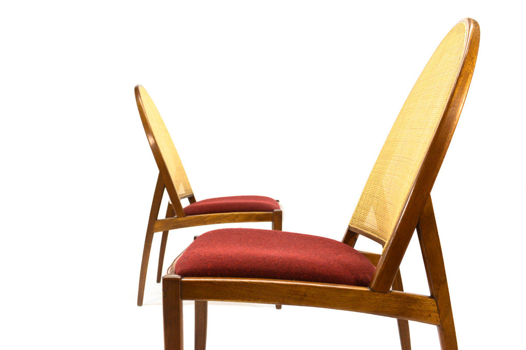 Pair of Drexel Parallel Cane Back Chairs