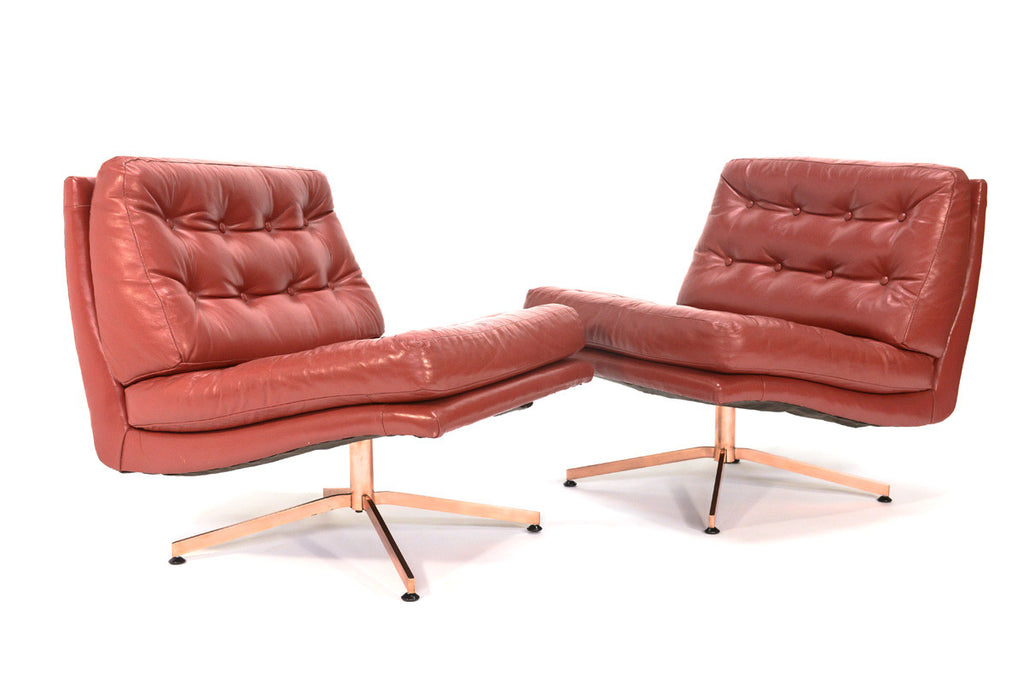 Pair of Leather and Bronze Lounge Chairs by Founders