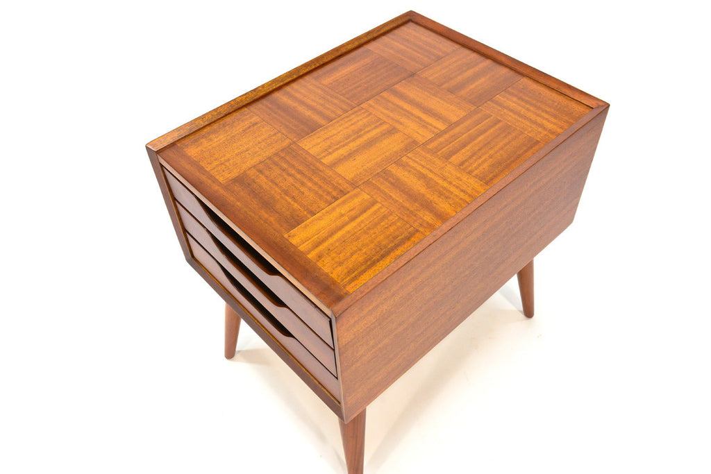 Mahogany Three Drawer Side Table