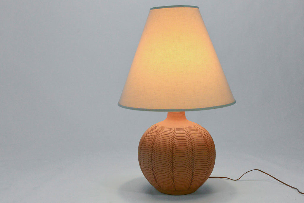 Large Incised Ceramic Table Lamp