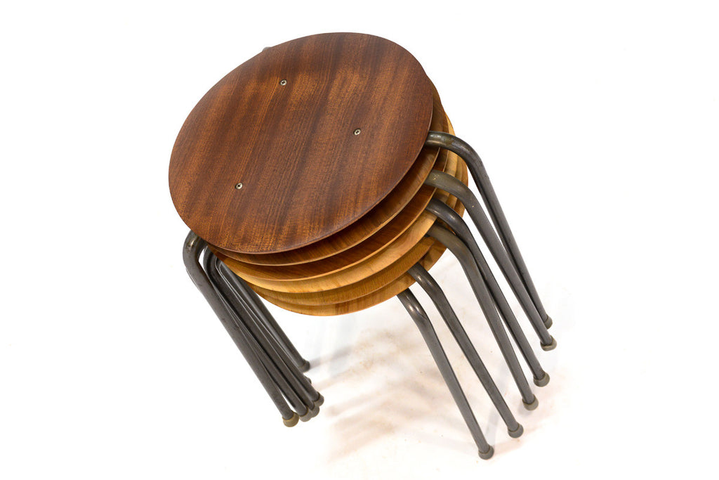 Set of Six Danish Dot Stools