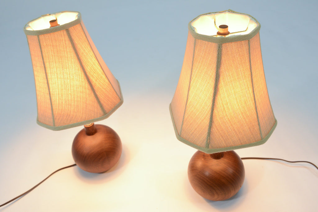 Pair of Small Teak Ball Lamps