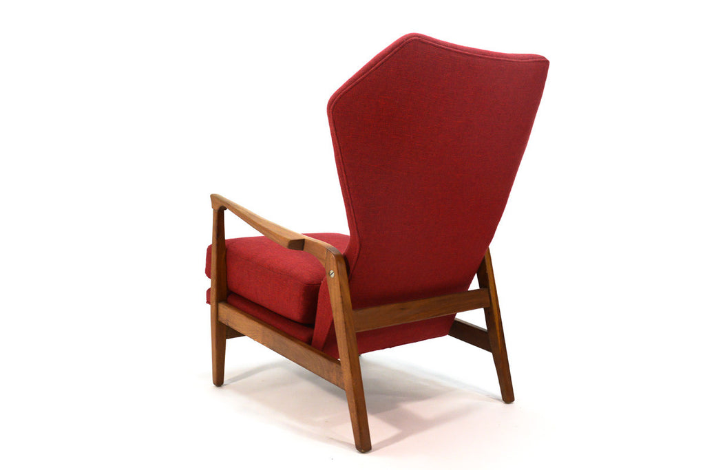Vintage Walnut Wingback Recliner
