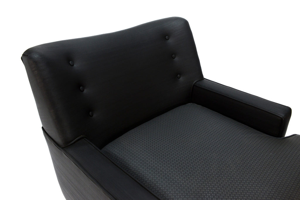 Original 1950's Black and Charcoal Vinyl Lounge Chair
