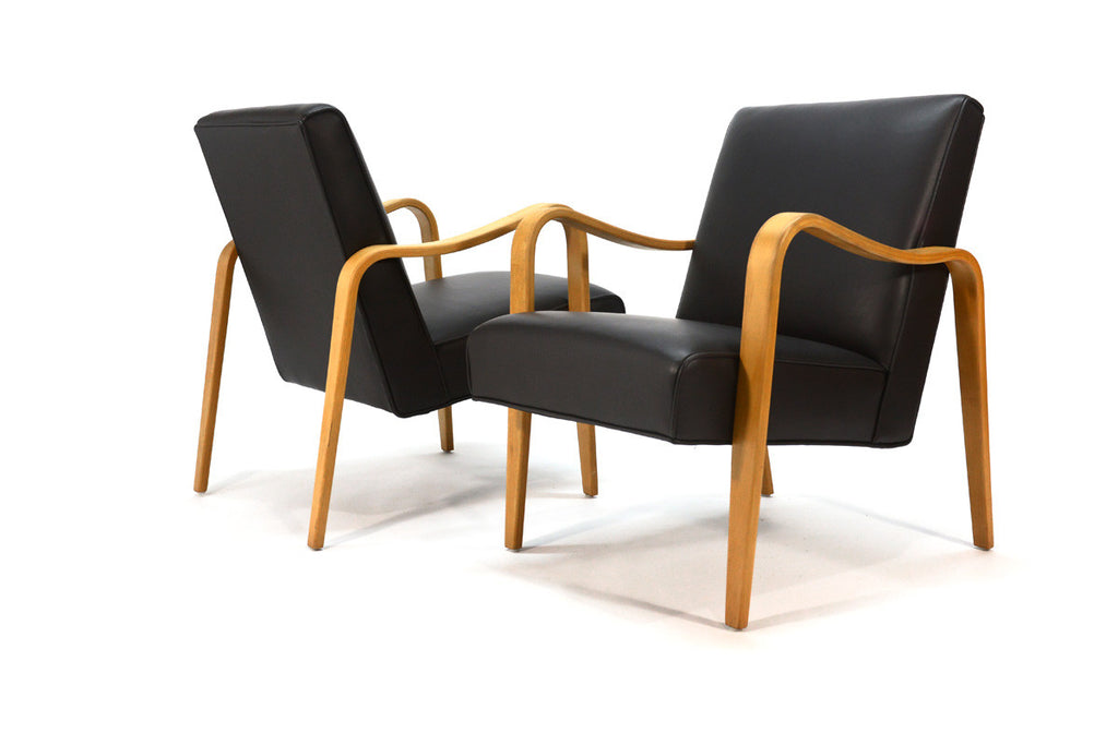 Pair of Thonet Bentwood and Leather Lounge Chairs
