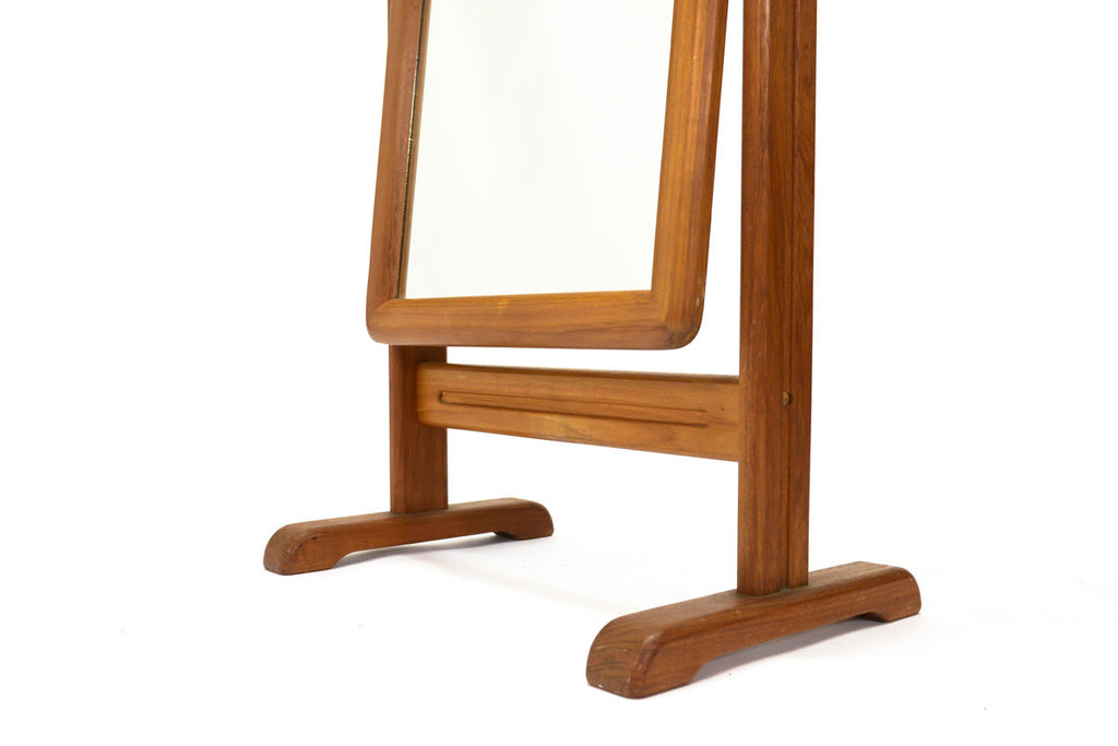 Danish Teak Cheval Full Length Mirror