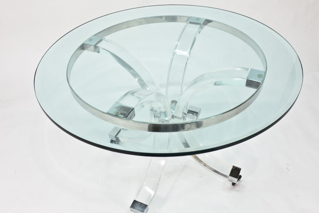 Lucite and Chrome Dining Table by Charles Hollis Jones