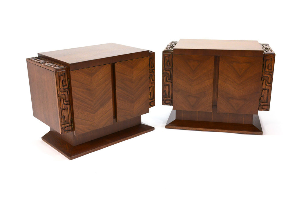 Pair of Tiki / Brutalist Walnut Nightstands