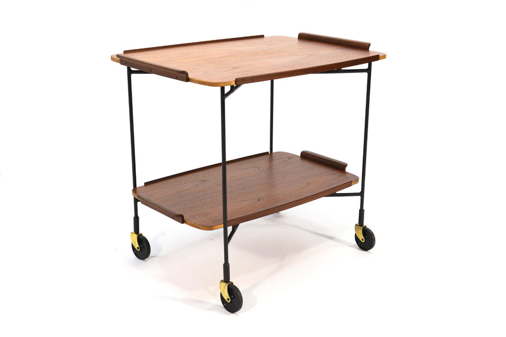 Teak and Iron Serving Cart