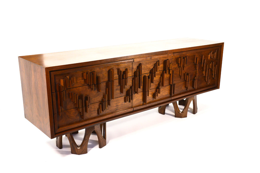 Brutalist Nine Drawer Walnut Dresser