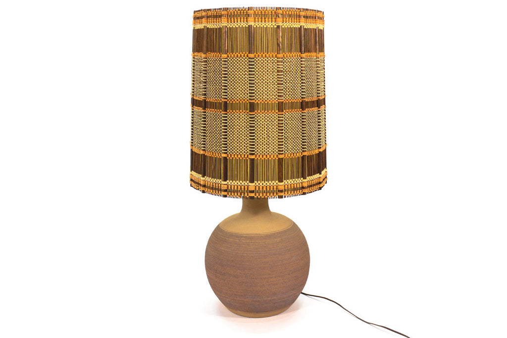 Large Incised Ceramic Table Lamp with Maria Kipp Shade