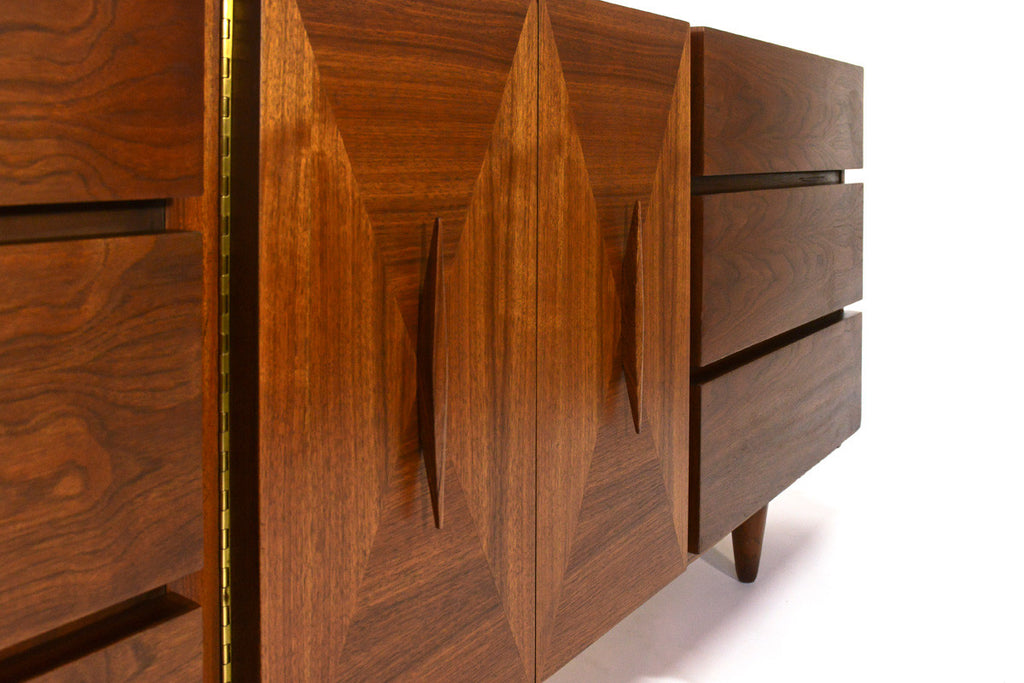 Walnut Nine Drawer Dresser by American of Martinsville