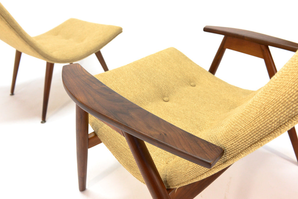 Pair of Allan Gould 'Eggshell' Lounge Chairs