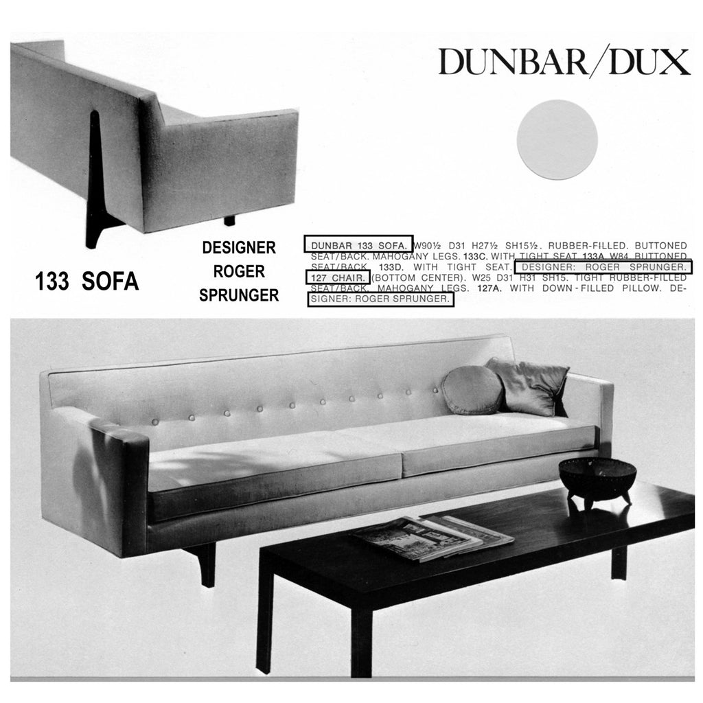 Bracket Back Sofa by Roger Sprunger for Dunbar