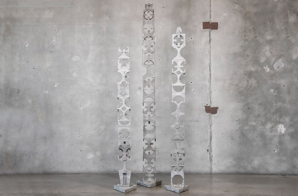 Three Geometric Aluminum Totems by David Green