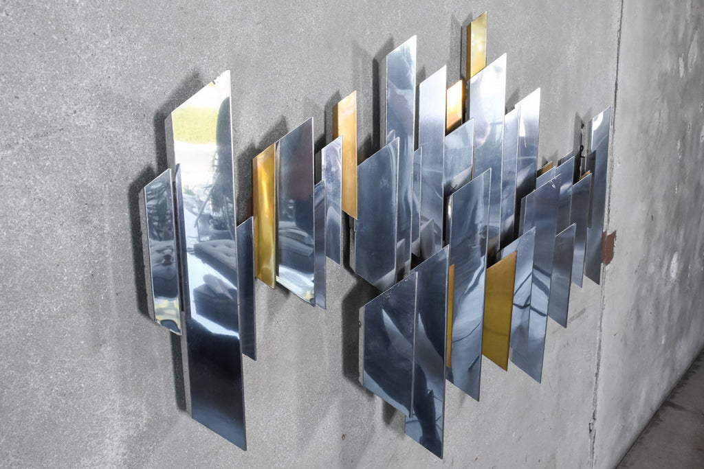 Large Chrome and Brass Cityscape Style Art Piece by Curtis Jere