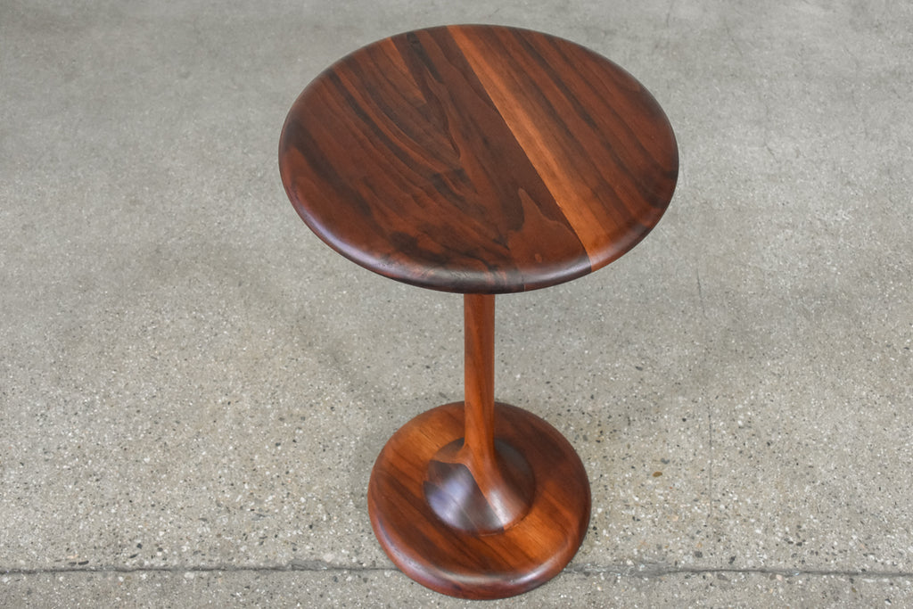 Small Walnut Pedestal Base Side Table