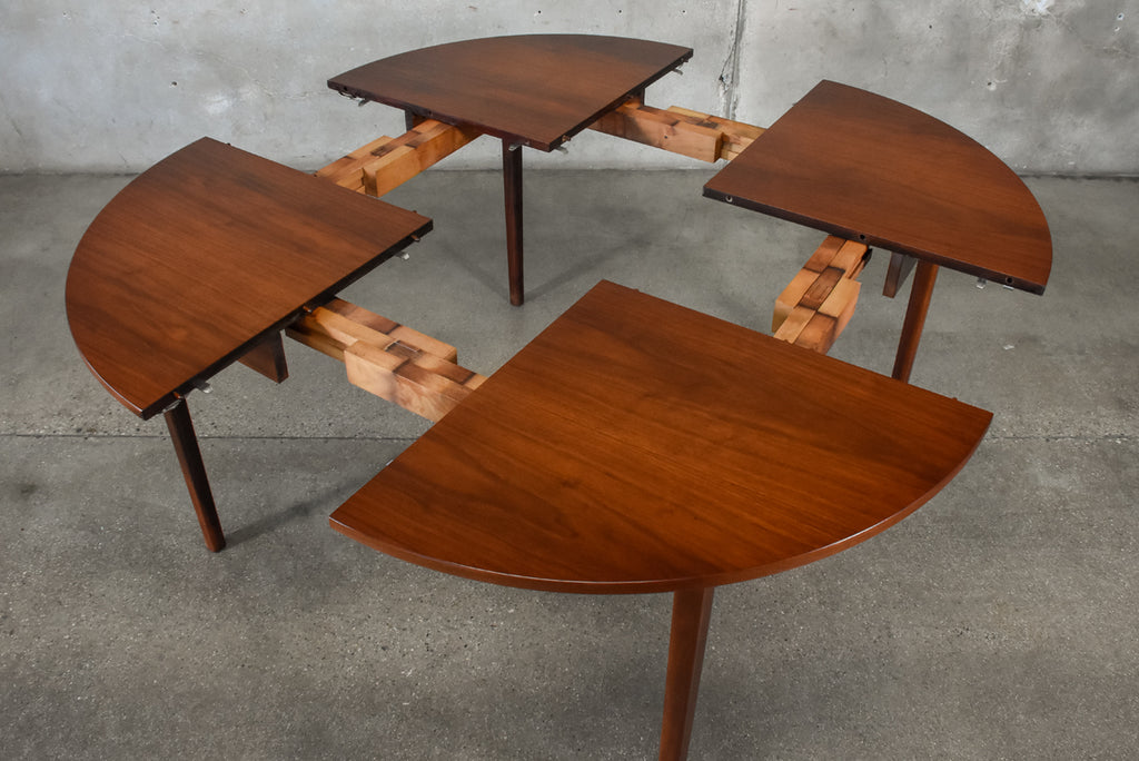 Unique Round Walnut Expanding Dining Table