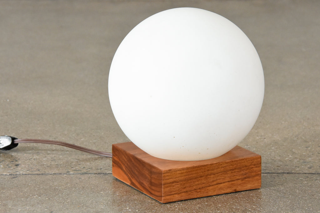 Walnut Base Globe Lamp
