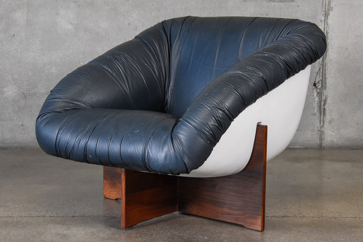 ... Leather And Fiberglass Lounge Chair By Percival Lafer ...