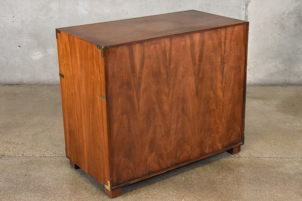 Compact Walnut and Brass Campaign Credenza by Baker