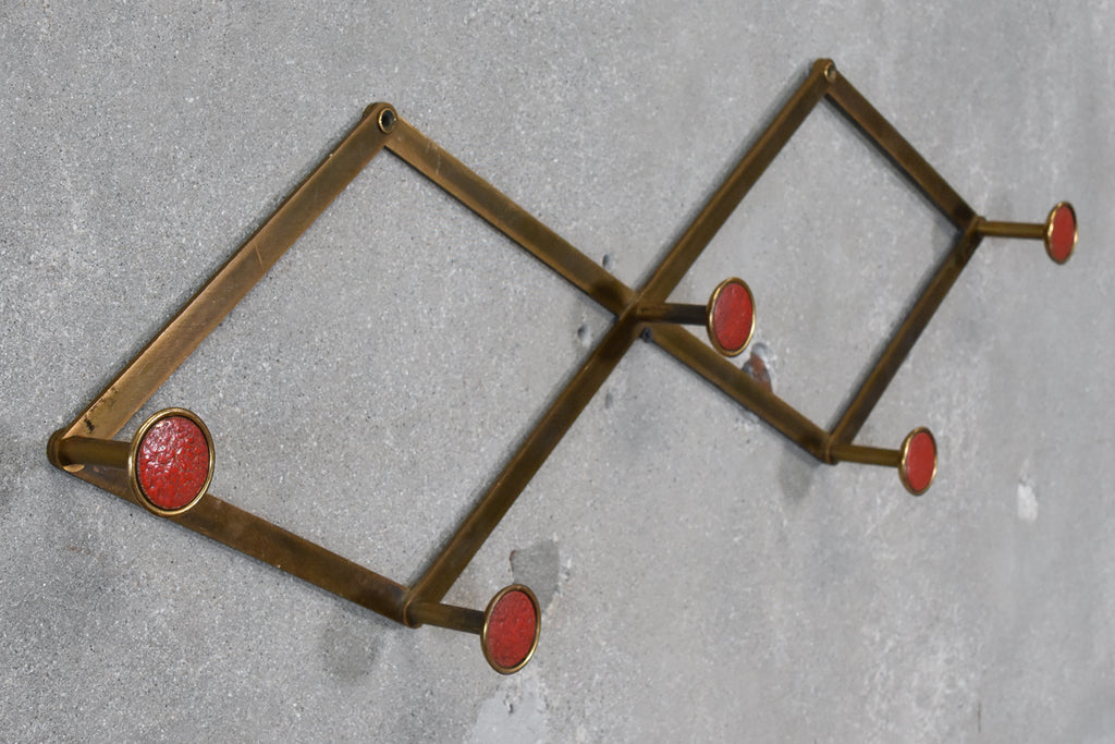 Brass and Enamel Accordion Hat or Coat Rack