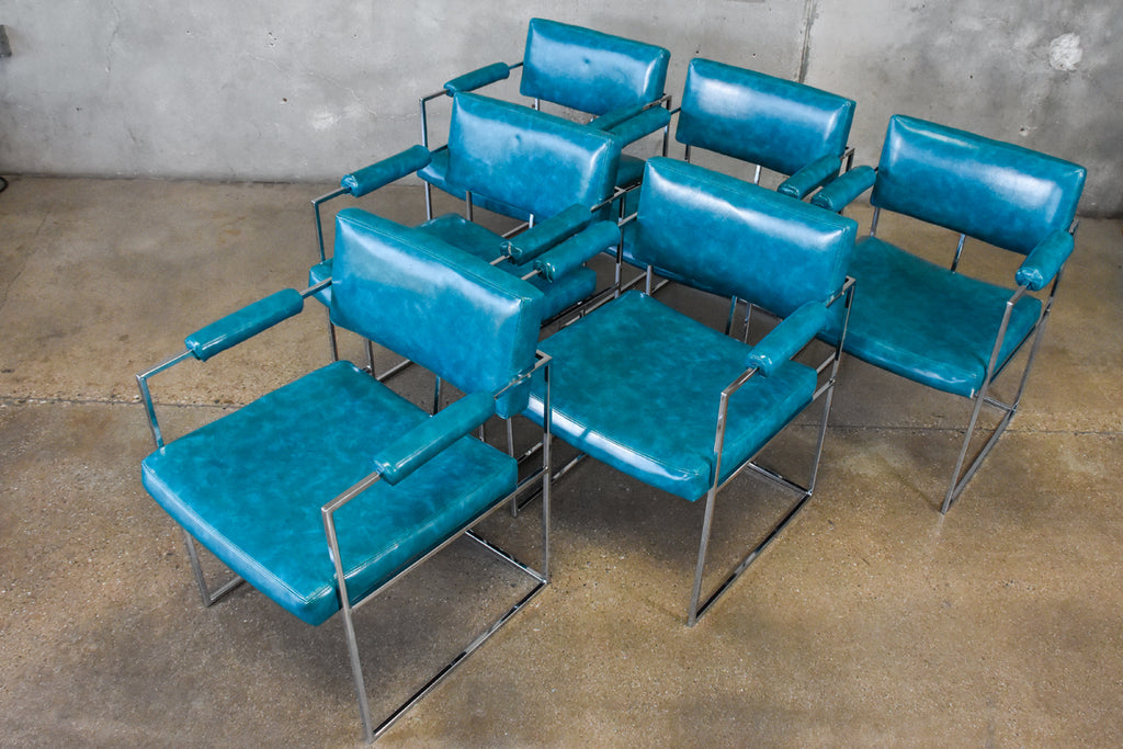 Set of Six Milo Baughman Chrome Dining Chairs