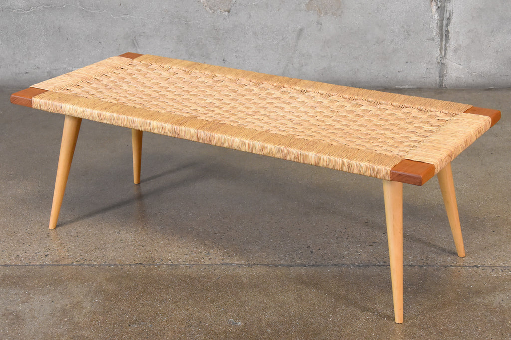 Woven Seagrass Bench in the Style of Edmund Spence