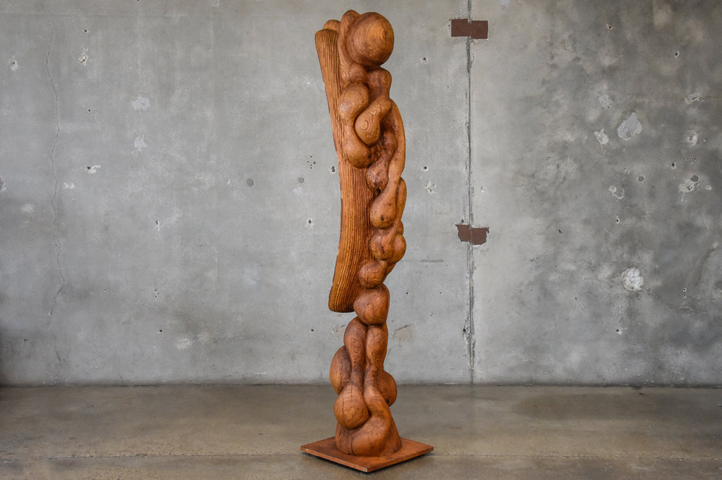 Carved Wood Totemic Sculpture by Les Bruning