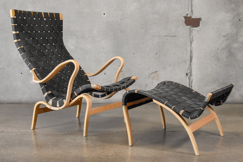 Pernilla Lounge Chair with Ottoman by Bruno Mathsson