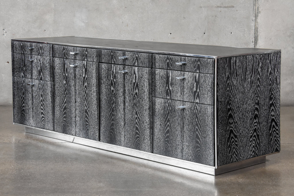 Cerused Oak and Chrome Credenza by Davis Allen
