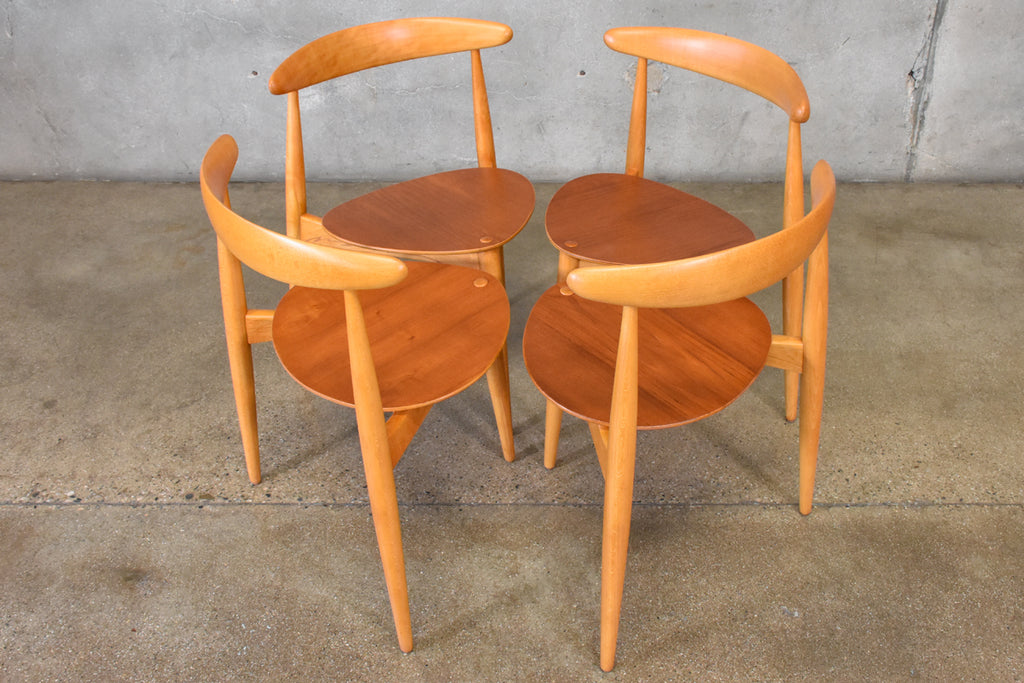 Set of Four Hans Wegner Heart Chairs