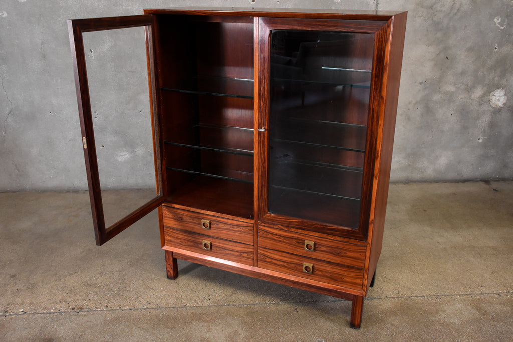 Danish Rosewood and Glass Display Cabinet