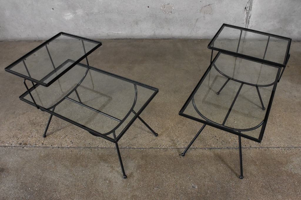 Pair of Frank and Son Iron and Glass Side Tables